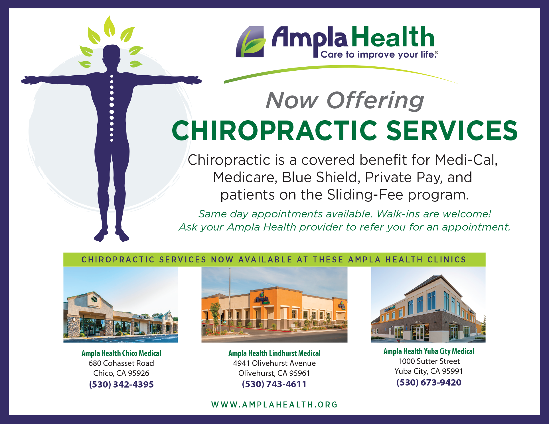 Chiropractic Services for Sliding Page on Website